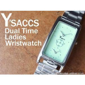 【Y'SACCS】イザック デュアルタイムレディース腕時計 レクタンギュラーフェイス YS-5271/グリーン|asshop