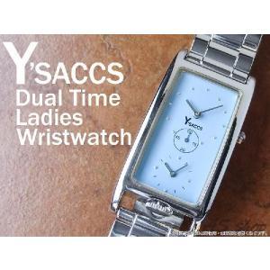 【Y'SACCS】イザック デュアルタイムレディース腕時計 レクタンギュラーフェイス YS-5241/ブルー|asshop