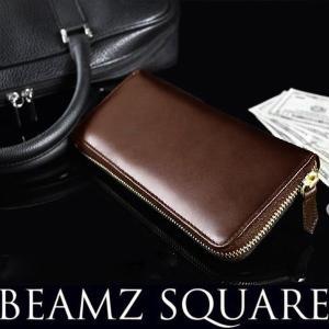 ラウンドファスナー 長財布 薄い BEMAZ SQUARE ヌメ革 スリム ラウンドウォレット ダークブラウン メンズ|asshop