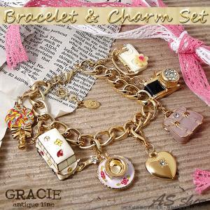 スワロフスキー ブレスレット ハートチャーム付き ゴールド ブレスレット &アンティーク調チャーム 6個付きセット バッグチャーム チェーン|asshop