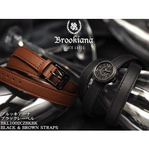 【BROOKIANA BlackLabel】男女兼用腕時計 BKL1002CZBKBK ブラック×ブラック ブラックジルコニアベゼル ロリカレザーブラックベルト&ブラウンベルト|asshop