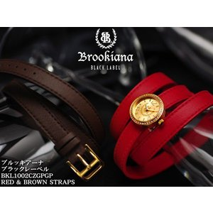 【BROOKIANA BlackLabel】男女兼用腕時計 BKL1002CZGPGP 9Kゴールド×ゴールド ジルコニアベゼル ロリカレザーレッドベルト&ブラウンベルト|asshop