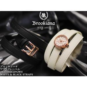 【BROOKIANA BlackLabel】男女兼用腕時計 BKL1002CZPGWH ピンクゴールド×ホワイト ジルコニアベゼル ロリカレザーホワイトベルト&ブラックベルト|asshop