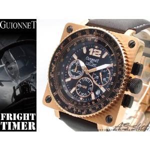 【GUIONNET】ギオネ FLIGHT TIMER BR1300PG フライトタイマークロノグラフ腕時計 ブラック/ピンクゴールド/ダークブラウン asshop