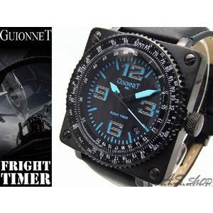 【GUIONNET】ギオネ FLIGHT TIMER BR1300QBL フライトタイマークロノグラフ腕時計 ブラック/ブルー asshop