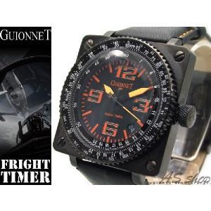【GUIONNET】ギオネ FLIGHT TIMER BR1300QBO フライトタイマークロノグラフ腕時計 ブラック/オレンジ asshop