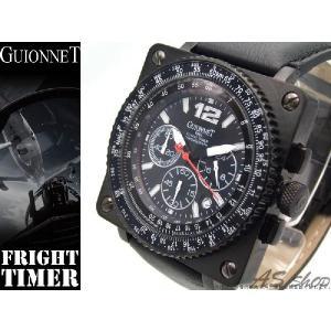 【GUIONNET】ギオネ FLIGHT TIMER BR1300SS フライトタイマークロノグラフ腕時計 ブラック/ホワイト asshop