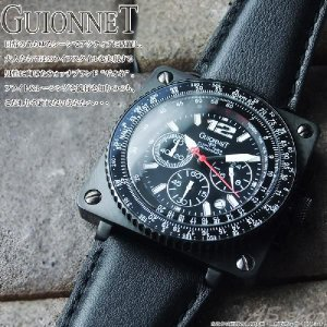 4cb479fbcd ... 【GUIONNET】ギオネ FLIGHT TIMER BR1300SS フライトタイマークロノグラフ腕時計 ブラック/ホワイト| ...