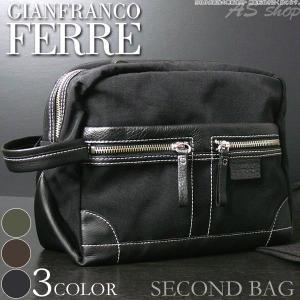 GIANFRANCO FERRE 新品 セカンドバッグ メンズ カバン ダブルファスナー バッグ ジャンフランコ・フェレ あすつく|asshop