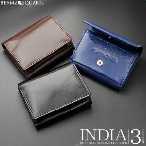 ミニ財布 メンズ 三つ折り財布  BEMAZ SQUARE バッファローレザー 水牛革  コンパクトウォレット 本革 カードケース|asshop
