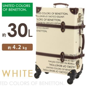 キャリーケース 機内持ち込み ベネトン トランクケース ホワイト 30L mサイズ かわいい おしゃれ スーツケース 4輪 旅行バッグ|asshop