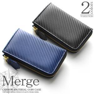 小銭入れ メンズ ファスナー カーボン加工 × 牛革 L字ファスナー コインケース カード収納 本革 撥水 カード 財布 Merge|asshop