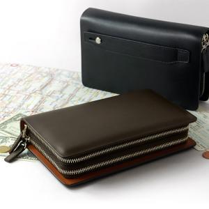 パスポートケース トラベルオーガナイザー 機能付き ダブルファスナー 牛革 クラッチバッグ ハミルトン メンズ|asshop