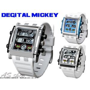 Disney 腕時計 ミッキー スクエアタイプ デジタルウォッチ ホワイトラバーベルト ディズニー キャラクター デジタル腕時計 キッズ|asshop