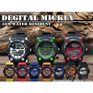 Disney 腕時計 ミッキー スポーツデジタルウォッチ ディズニー キャラクター デジタル腕時計 キッズ|asshop