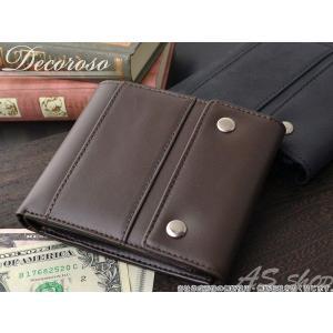 メンズ 財布 二つ折り メンズ 二つ折り財布 牛革 本革  ビンテージ ブランド Decoroso デコローゾ かっこいい ブラック  ブラウン cl1664|asshop
