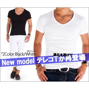 BARTOLO VAVEL Tシャツ メンズ vネック テレコ素材 半袖 スリム ホワイト ブラック 無地 カットソー|asshop