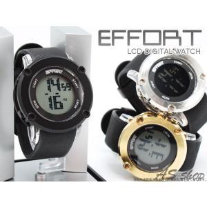 EFFORT LCD デジタルウォッチ BIGフェイス 腕時計 デジタルクロノグラフ カレンダー アラーム機能搭載 FI-21001 エフォート メンズ レディース asshop