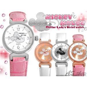 【Disney】【Mickey Mouse】グリッター ミッキー フェイス レディース腕時計 シンプルでゴージャスなリストウォッチ スワロフスキー 配置 クロコ 型押しベルト|asshop