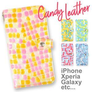 キャンディレザー スマホケース 全機種対応 手帳型 エナメル加工 本革 レディース iPhone11 Pro iPhoneXR iPhoneXS iPhoneX iPhone8 / 7 Xperia Galaxy AQUOS|asshop