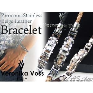 【Veronika Voss】ヴェロニカボス ジルコニア×ステンレス×編み込みレザーブレスレット メンズアクセサリー asshop