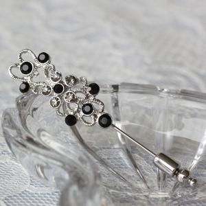 黒とグレーのダイヤをたくさん飾ってかわいくきれい♪ピンブローチ|assure-2|02
