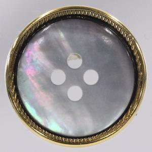 貝xメタル(金属)ボタン 表穴 21mm 1個入 (ゴールド) FM88 GG (20mm代用 スーツ・ジャケット向) ボタン 手芸 通販|assure-2
