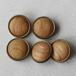 木ボタン(ウッドボタン) (茶・ナチュラルxアンティックゴールド) 12mm 1個入 天然素材 OW5100-AG1 (シャツ・ブラウス向) ボタン 手芸 通販|assure-2