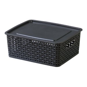 ボックスS インテリア雑貨 アミー ブラック 黒 おしゃれ 北欧 フタ付収納ケース マルチケース スタッキング可 LFS-691BK / 東谷|astas-shop