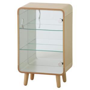 コレクションシェルフS チェスト ラック オープンシェルフ ナチュラル ベージュ 収納 おしゃれ 北欧 強化ガラス 木製 飾り棚 PT-611NA / 東谷|astas-shop
