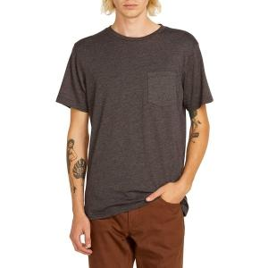 ボルコム シャツ メンズ トップス Heather Short-Sleeve Pocket T-Shirt - Men's Black Combo|astyshop