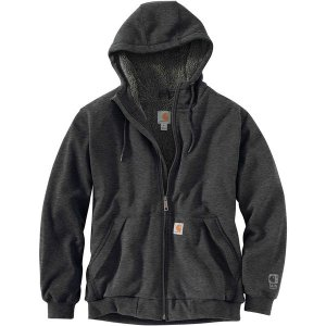 カーハート ニット、セーター メンズ アウター Rain Defender Rockland Sherpa-Lined Full-Zip Hooded Sweatshirt - Men's Carbon Heather|astyshop