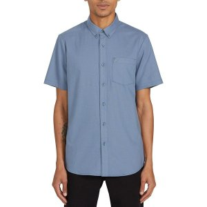 ボルコム シャツ メンズ トップス Everett Oxford Short-Sleeve Shirt - Men's Stormy Blue|astyshop