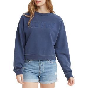 リーバイス パーカー・スウェットシャツ アウター レディース Levi's Women's Premium Graphic Diana Crew Sweatshirt Blue Indigo|astyshop