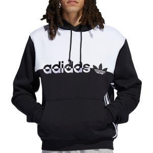 アディダス パーカー・スウェットシャツ アウター メンズ adidas Originals Men's Split Hoodie Black/White astyshop