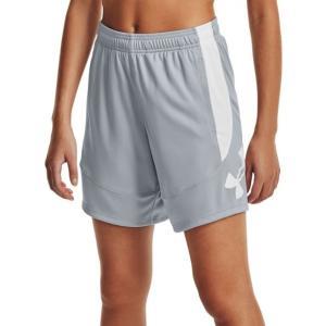 アンダーアーマー カジュアルパンツ ボトムス レディース Under Armour Women's Colorblock 6'' Basketball Shorts Mod Gray/White astyshop