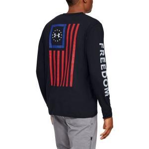 アンダーアーマー Tシャツ トップス メンズ Under Armour Men's Freedom New Flag Long Sleeve T-Shirt Black/Steel astyshop