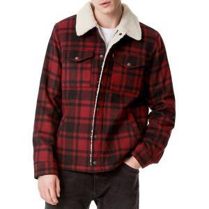 リーバイス ジャケット&ブルゾン アウター メンズ Levi's Men's Wool Blend Trucker Jacket Red Plaid|astyshop