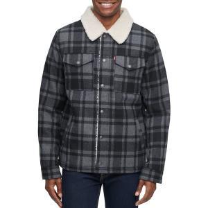 リーバイス ジャケット&ブルゾン アウター メンズ Levi's Men's Wool Blend Trucker Jacket Charcoal Plaid|astyshop