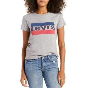 リーバイス シャツ トップス レディース Levi's Women's Perfect Logo Graphic T-Shirt Smokestack|astyshop
