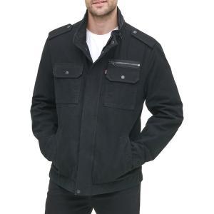 リーバイス ジャケット&ブルゾン アウター メンズ Levi's Men's Washed Cotton Military Jacket Black|astyshop