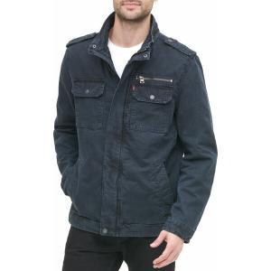 リーバイス ジャケット&ブルゾン アウター メンズ Levi's Men's Washed Cotton Military Jacket Navy|astyshop