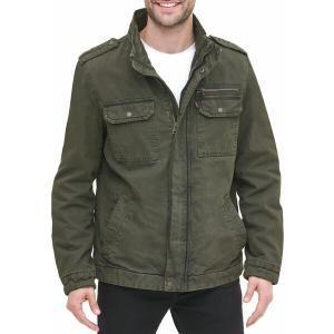 リーバイス ジャケット&ブルゾン アウター メンズ Levi's Men's Washed Cotton Military Jacket Olive|astyshop