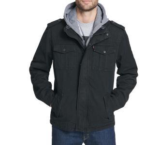 リーバイス ジャケット&ブルゾン アウター メンズ Levi's Men's Sherpa Lined Hooded Utility Jacket Black|astyshop