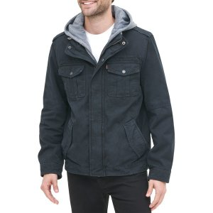 リーバイス ジャケット&ブルゾン アウター メンズ Levi's Men's Sherpa Lined Hooded Utility Jacket Navy|astyshop