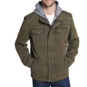 リーバイス ジャケット&ブルゾン アウター メンズ Levi's Men's Sherpa Lined Hooded Utility Jacket Olive|astyshop