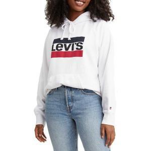 リーバイス パーカー・スウェットシャツ アウター レディース Levi's Women's Premium Sportswear Logo Hoodie White|astyshop