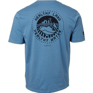 パタゴニア Tシャツ トップス メンズ Patagonia Men's Safeguard Stencil World Trout Organic Cotton T-Shirt PigeonBlue astyshop