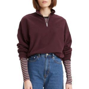 リーバイス パーカー・スウェットシャツ アウター レディース Levi's Women's Pom  Zip Sweatshirt Malbec|astyshop