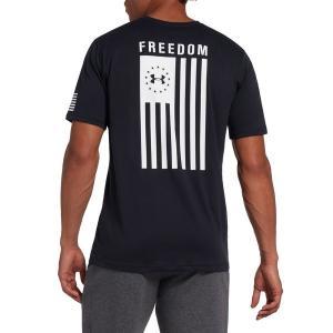 アンダーアーマー Tシャツ トップス メンズ Under Armour Men's Freedom Flag T-Shirt Black/White astyshop